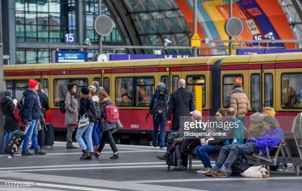 City railroad central station Moabit middle Berlin Germany SBahn Hauptbahnhof Mitte Germany