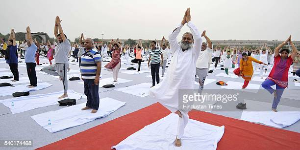 City residents participating in Yoga camp at Parade Ground Sector 5 on June 14 2016 in Panchkula India Three day yoga camp is being organized in...