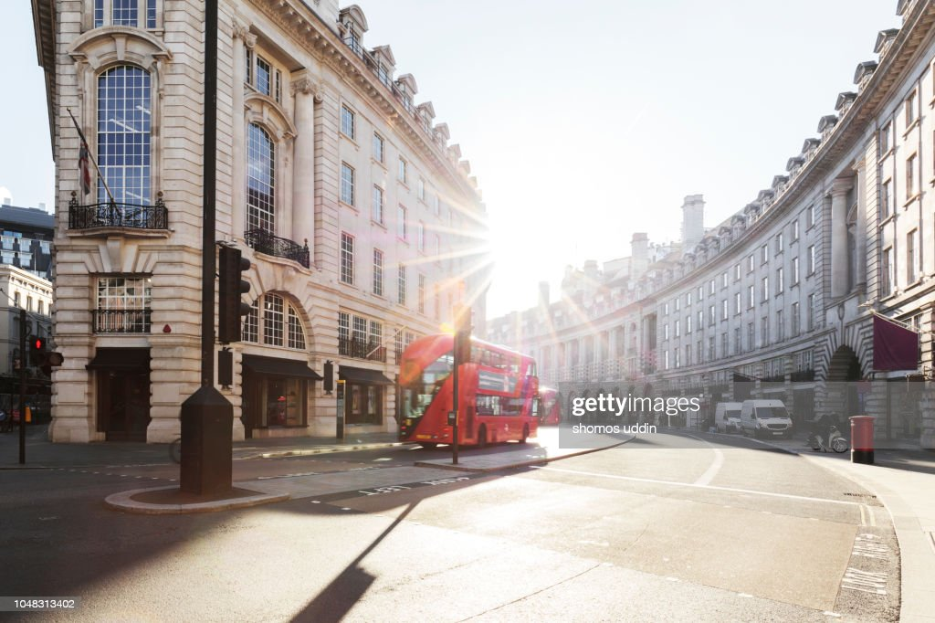 City road and Street of London at sunrise : Stock Photo