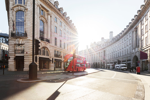 City road and Street of London at sunrise - gettyimageskorea