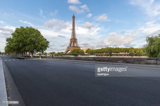 city road of paris - empty road stock pictures, royalty-free photos & images
