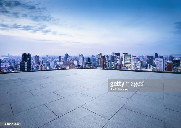 city rooftop viewing platform - city life ストックフォトと画像