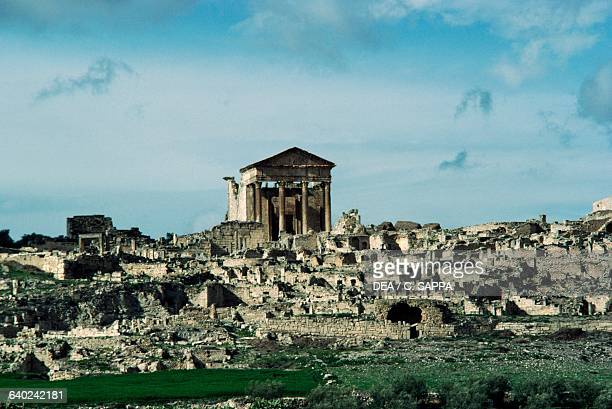 City ruins with the Capitolium 166167 AD Thugga Dougga Tunisia Roman civilisation 2nd century AD