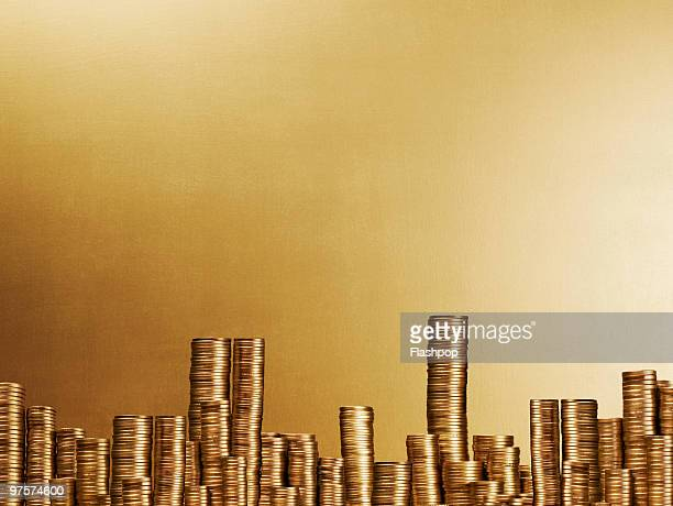 City scape made up of gold coins