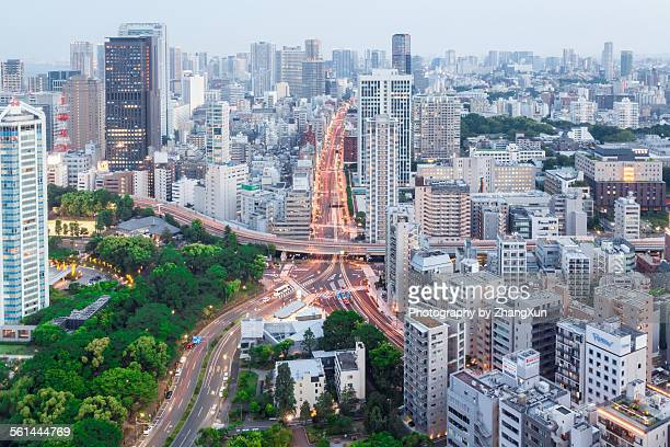 City scape of Tokyo elevated view