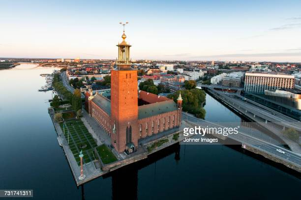 City scape with Stockholm City Hall, Sweden