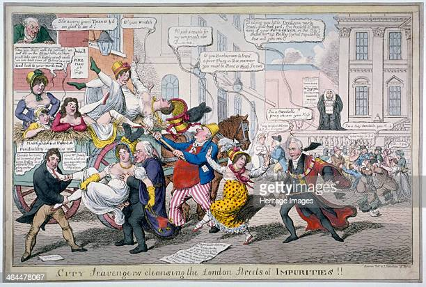 'City Scavengers Cleansing the London Streets of Impurities' 1816 The Lord Mayor Matthew Wood Robert Waithman and Sir William Curtis forcibly...