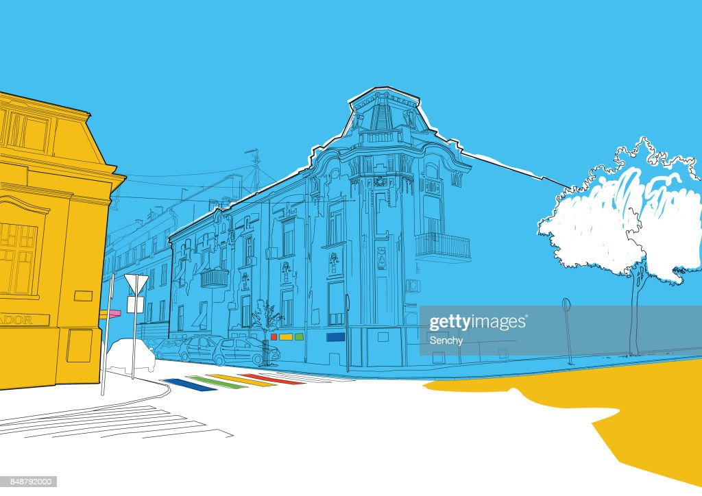 City scene illustration : Stock-Foto