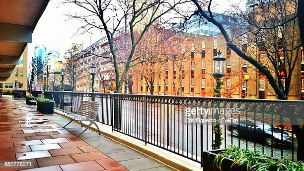 city seen through balcony - bethesda maryland stock photos and pictures