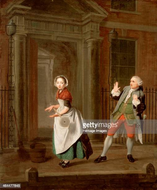 City Shower', c1764. A young maid standing on the pavement outside the doorway of a wealthy house vigorously shakes her mop, spraying a male...