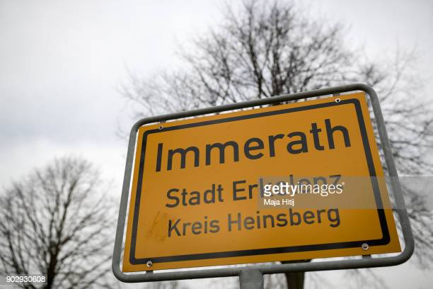 A city sign next to an empty road on January 9 2018 in Immerath Germany The village of Immerath will be completely razed in order to make way for the...