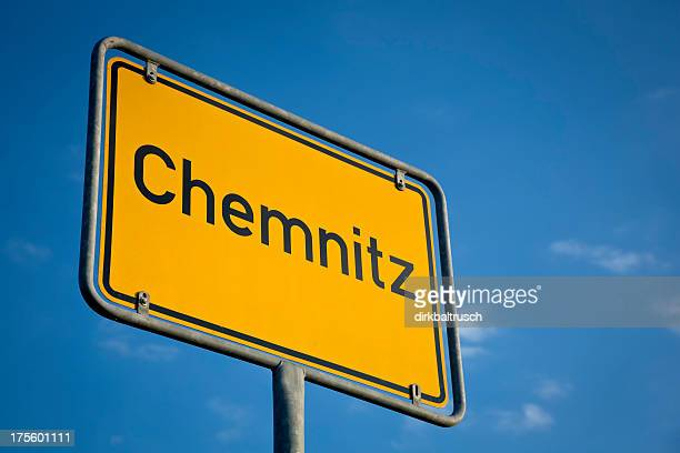 city sign of chemnitz, saxony - chemnitz stock pictures, royalty-free photos & images