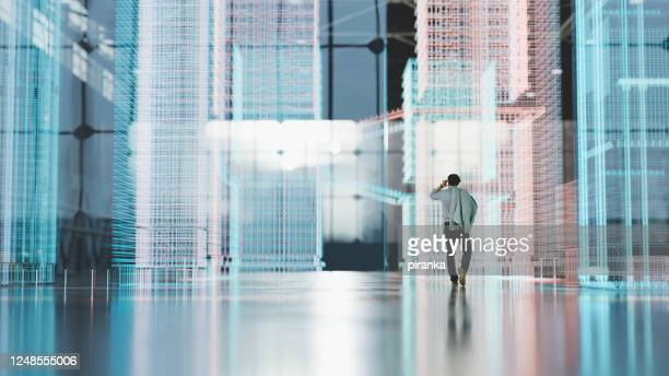 city simulation - wire frame model stock pictures, royalty-free photos & images