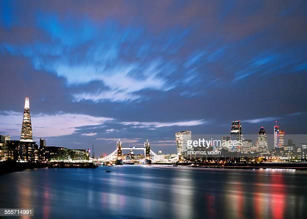 City skyline across River Thames at dusk