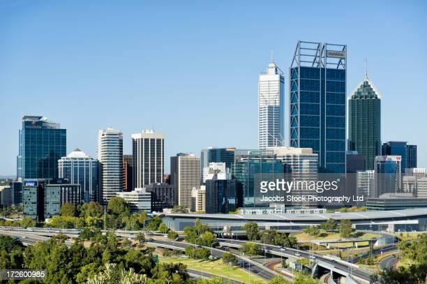 City skyline and freeways, Perth, Western Australia, Australia