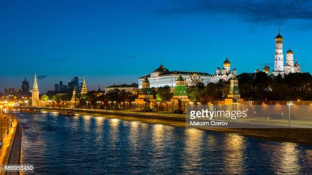 City skyline and Kremlin at dusk, Moscow, Russia