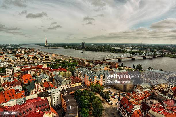 City skyline and river Daugava, Riga, Latvia