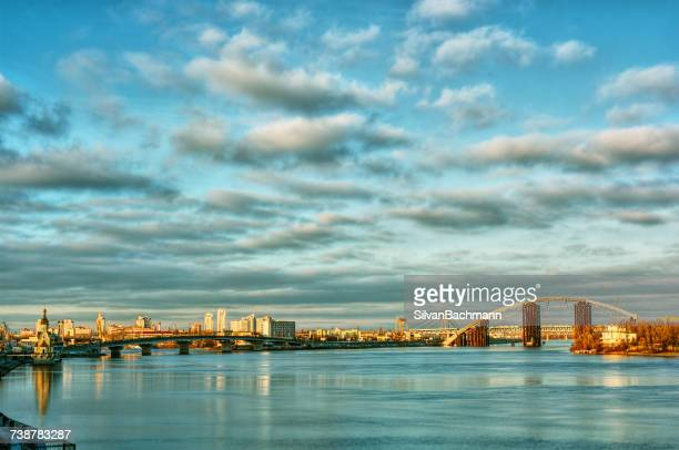 city skyline and river dnepr, kiev, ukraine - ukraine stock pictures, royalty-free photos & images