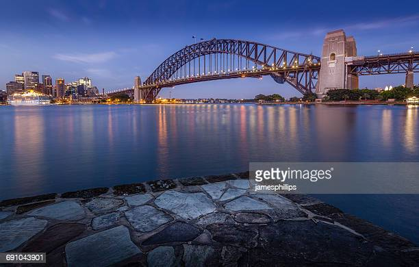 City skyline and Sydney Harbor Bridge, Sydney, New South Wales, Australia