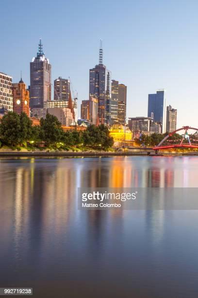 City skyline and Yarra river at sunrise, Melbourne, Australia