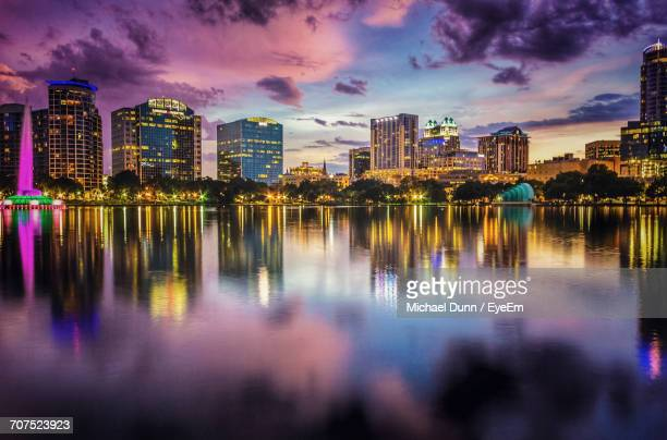 city skyline at dusk - city_(florida) stock pictures, royalty-free photos & images