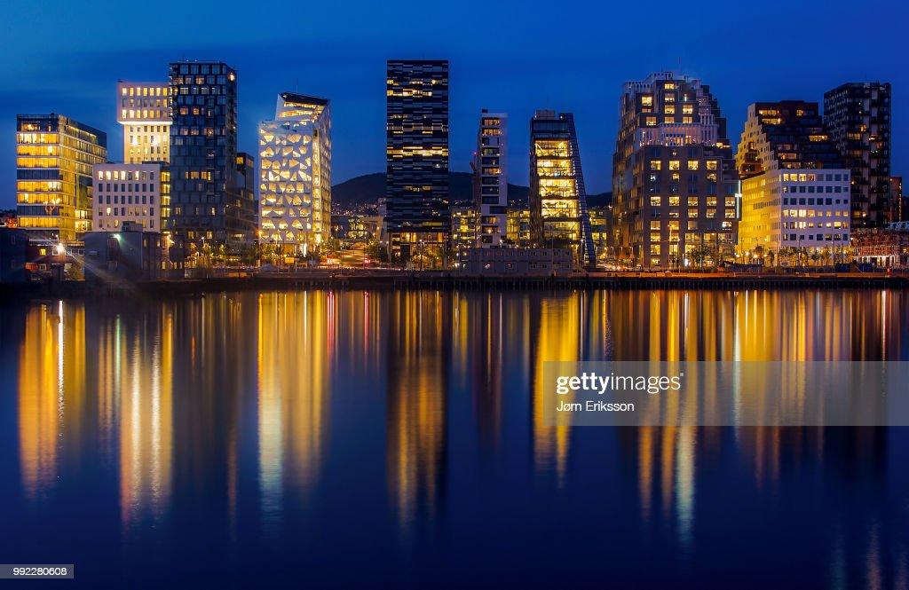 City skyline at dusk : Stock Photo