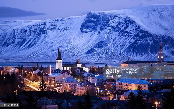 city skyline at dusk, reykjavik, iceland - reykjavik stock pictures, royalty-free photos & images