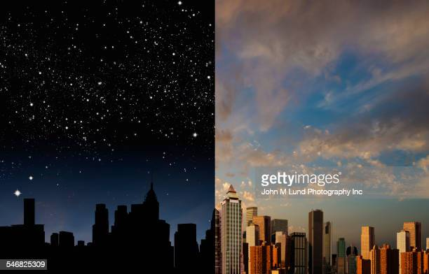 city skyline at night and daytime - día fotografías e imágenes de stock