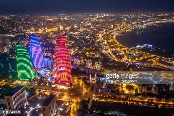 city skyline at night, baku, azerbaijan, south caucasus, eurasia - baku stock pictures, royalty-free photos & images