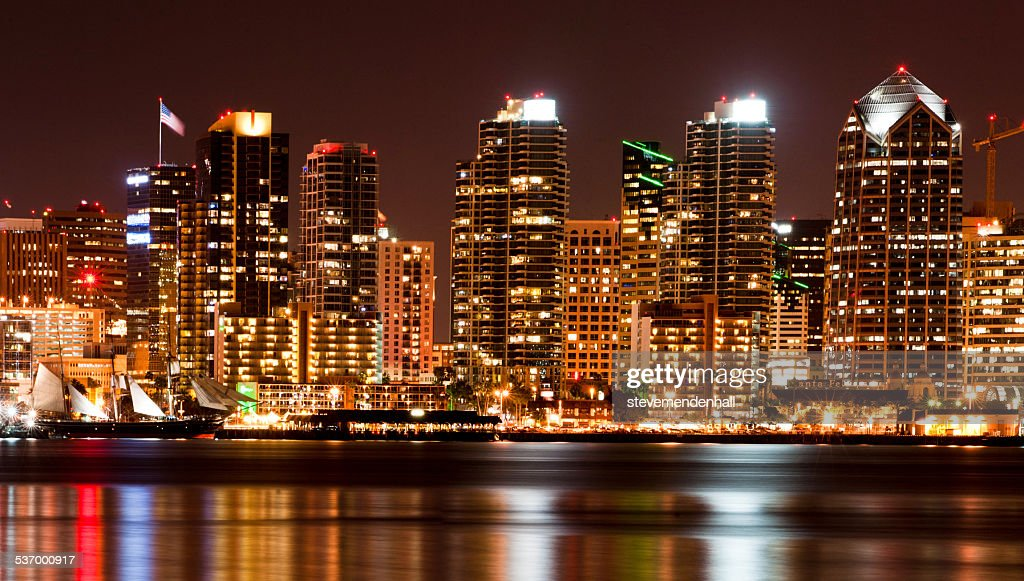 City skyline at night, San Diego, California, America, USA : Stock Photo