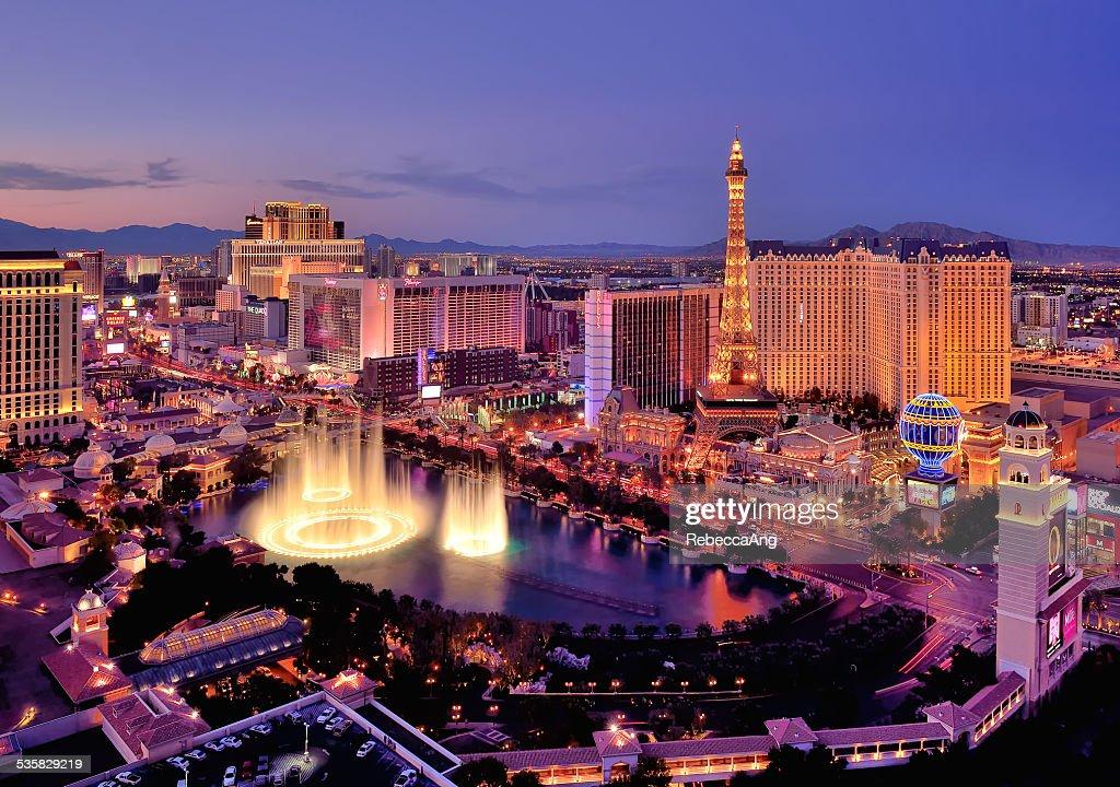 City skyline at night with Bellagio Hotel water fountains, Las Vegas, Nevada, America, USA : Stock Photo