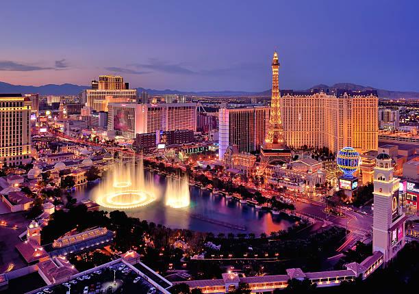 City Skyline At Night With Bellagio Hotel Water Fountains, Las Vegas, Nevada, America, USA Wall Art
