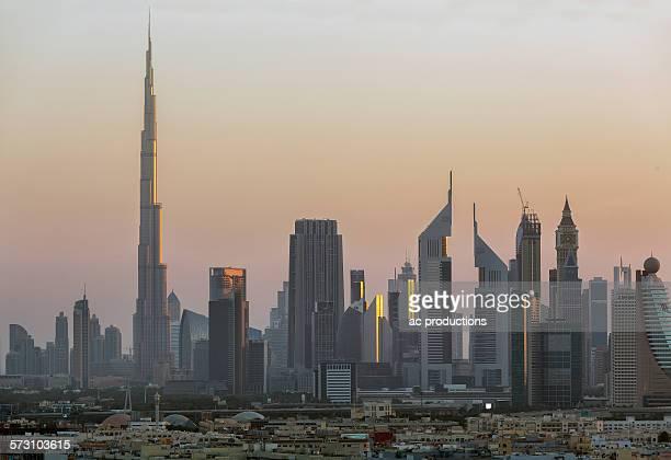 City skyline at sunset, Abu Dhabi Emirate, United Arab Emirates