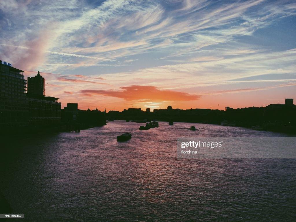 City skyline at sunset, London, England, UK : Stock Photo