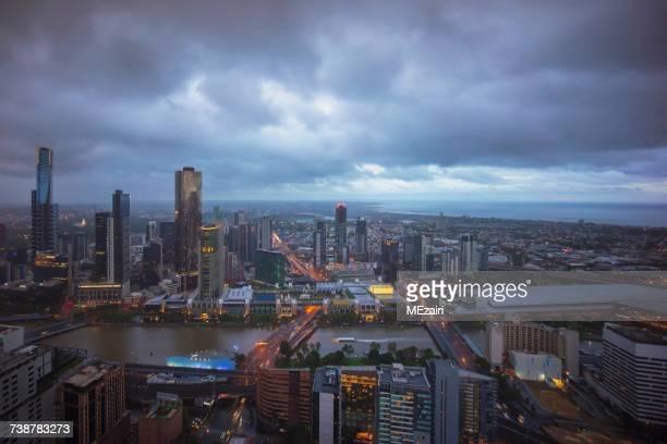 City skyline at sunset Melbourne Victoria, Australia