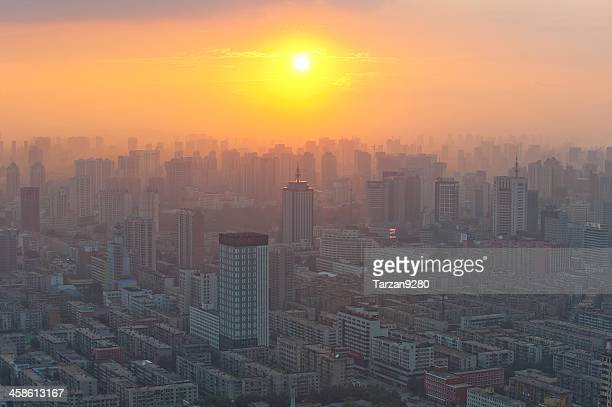 city skyline at sunset moment - shenyang stock pictures, royalty-free photos & images