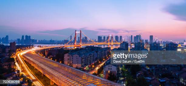 city skyline at sunset - wuhan stock photos and pictures