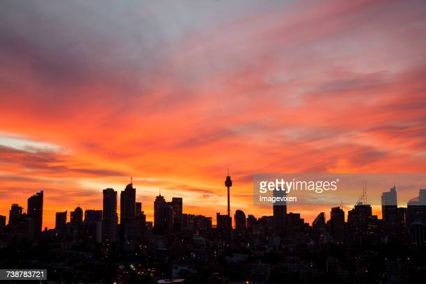City skyline at sunset, Sydney, New South Wales, Australia