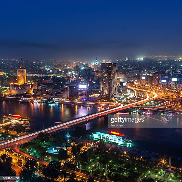 city skyline - cairo at dusk aerial view - cairo stock pictures, royalty-free photos & images