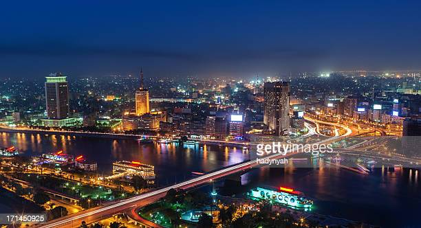city skyline - cairo at dusk - egypt stock pictures, royalty-free photos & images