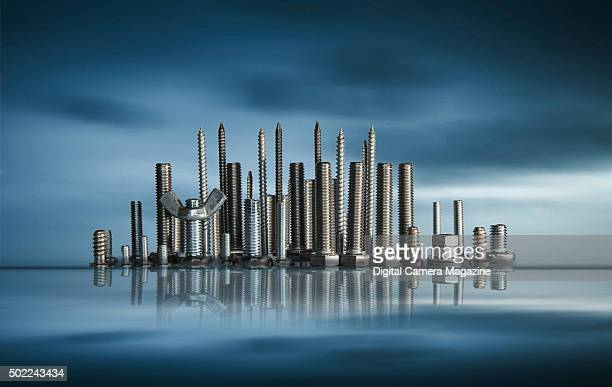 A city skyline created from nuts bolts and screws taken on May 13 2015