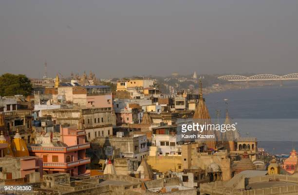 City skyline filled with temples and old monuments on January 30, 2018 in Varanasi, India. Varanasi is a major religious hub in India, it is the...