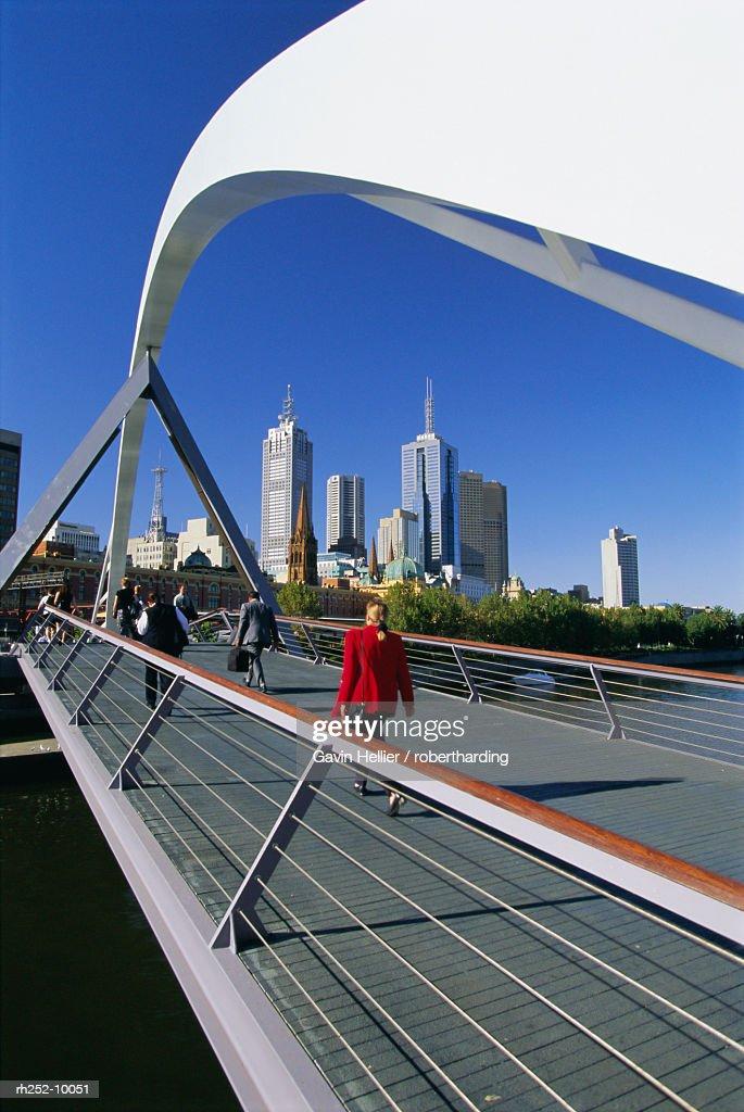 City skyline from Southgate, Melbourne, Victoria, Australia : Foto de stock