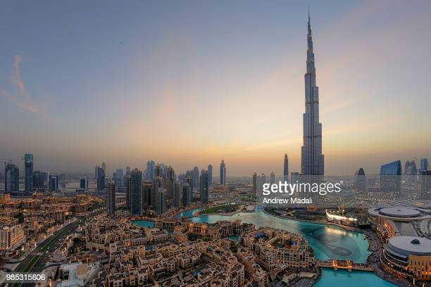 A city skyline in Dubai, United Arab Emirates.