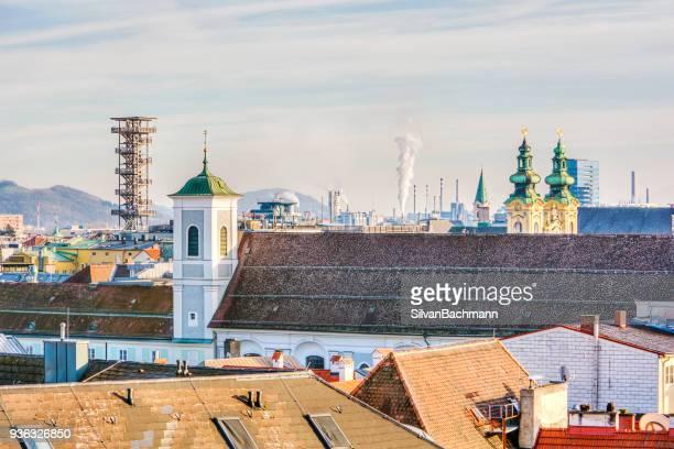 city skyline, linz, austria - linz stock pictures, royalty-free photos & images