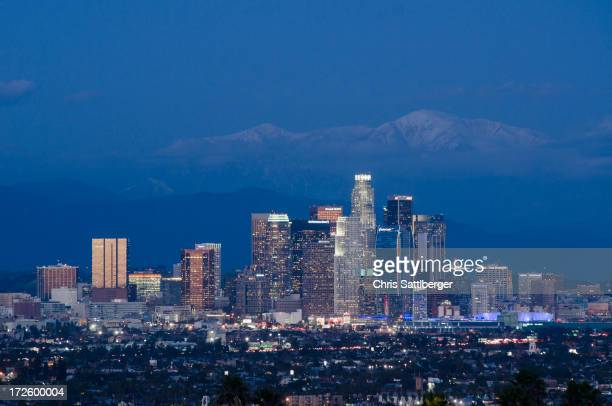 city skyline lit up at night, los angeles, california, united states - mount baldy stock photos and pictures