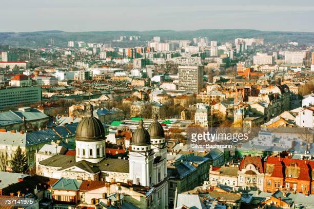 city skyline, lviv, ukraine - ukraine stock pictures, royalty-free photos & images