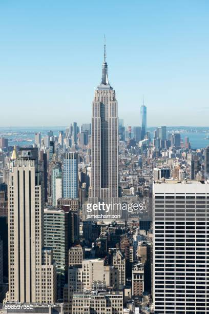 city skyline, manhattan, new york, america, usa - empire state building stock pictures, royalty-free photos & images