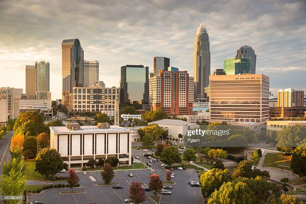 City skyline of Charlotte North Carolina USA : Stock Photo