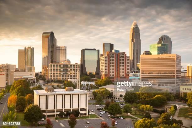 City skyline of Charlotte North Carolina USA